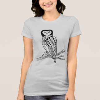 Heart Owl Primitve Ink Drawing Bird Lover T-Shirt