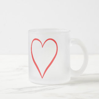 Heart painted on white background frosted glass coffee mug