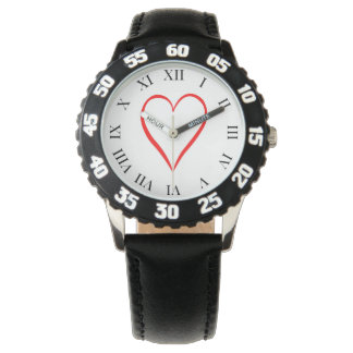 Heart painted on white background watch