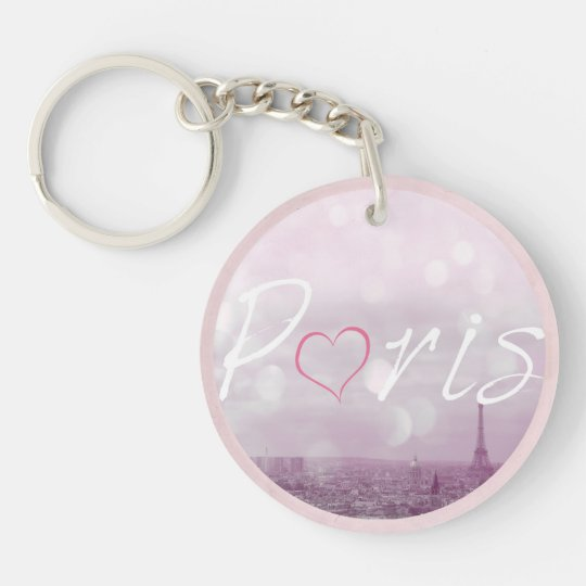 Heart Paris Pink Single-Sided Round Acrylic Keychain