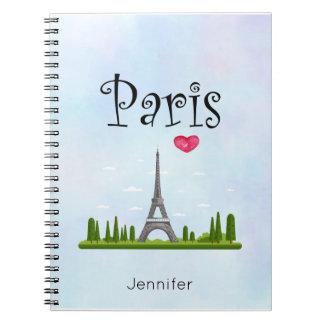 Heart Paris with Eiffel Tower Custom Notebooks
