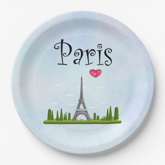 Heart Paris with Eiffel Tower Paper Plate