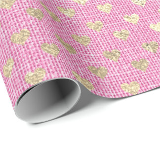 Heart Pastel Foxier Gold Pink Rose Bridal Linen Wrapping Paper