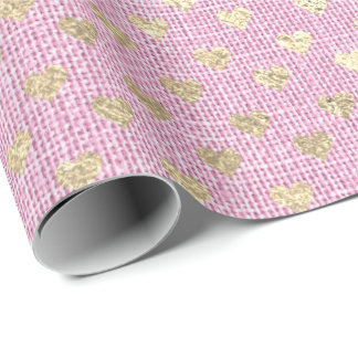 Heart Pastel Foxier Gold Pink Rose Bridal Pastel Wrapping Paper