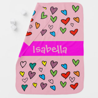 Heart Pattern Colorful Cute  Girly Pink Custom Baby Blanket