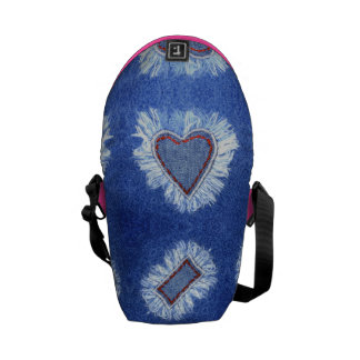 heart pattern embroidered jeans messenger bags