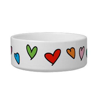 Heart Pattern Hand Drawn Vibrant Colors Love Cute Bowl