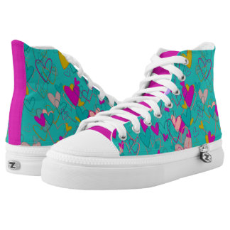 Heart Pattern Love Romantic Dramatic Turquoise High Tops