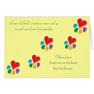 """Heart-Paw_""""Footprints on the Heart"""" pet sympathy Note Card"""