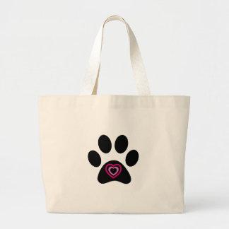 Heart Paw Print Large Tote Bag