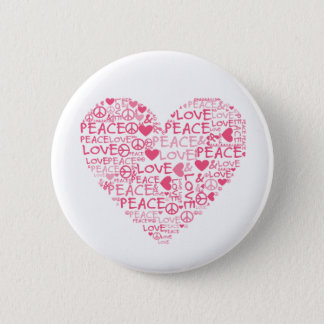Heart peace & love 2 inch round button