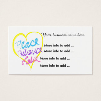 Heart peace patience love Business Cards