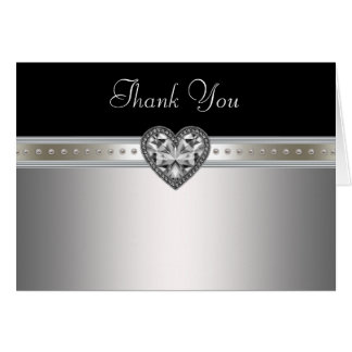 Heart Pearls Black Silver Thank You Cards