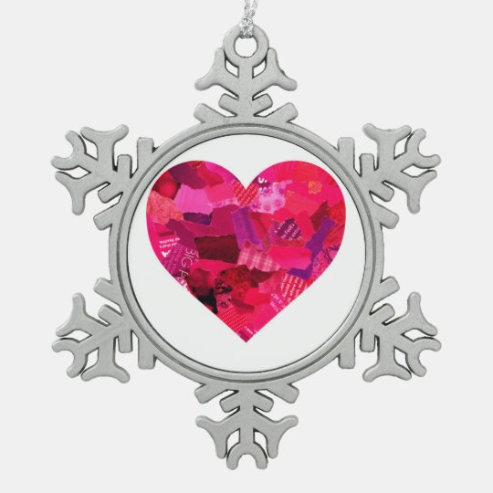 Heart Pendent Pewter Snowflake Ornament