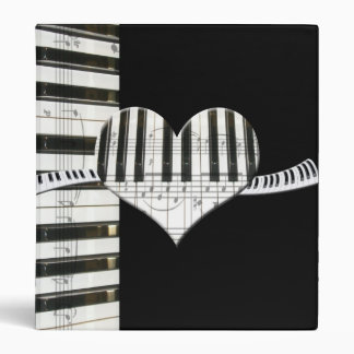 Heart Piano Keyboard and Music Notes 3 Ring Binder