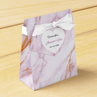 Heart Pink Marble Gold Wedding Favor Thank You Favor Box