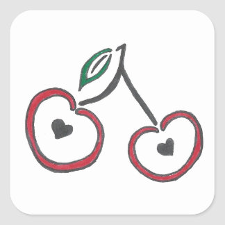 Heart Pitted Cherries Sticker