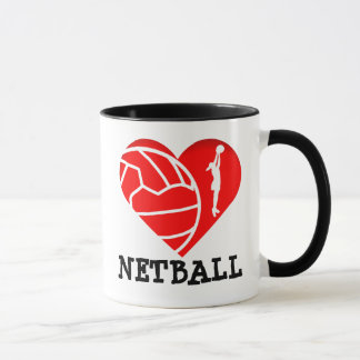 Heart Player Silhouette I Love Netball Mug