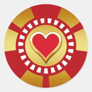 HEART POKER CHIP CLASSIC ROUND STICKER