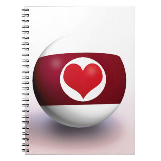 Heart Pool Ball Spiral Note Books