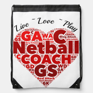 Heart Positions Coach Netball Drawstring Bag