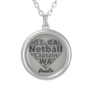 Heart Positions Personalised Netball Silver Plated Necklace