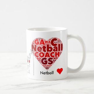 Heart Positions Word Cloud Netball coach Coffee Mug