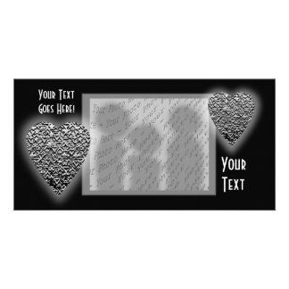 Heart. Printed Gray Pattern. Customized Photo Card