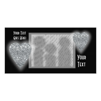 Heart. Printed Light Gray and Mid Gray Pattern. Picture Card