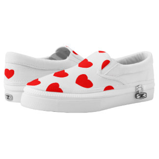 Heart prints on slip on shoes