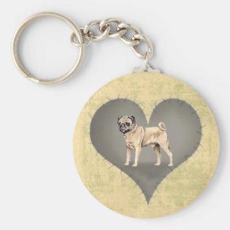 Heart Pug Keychain