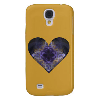 Heart--Purple Fractal Art Surrounded with Gold