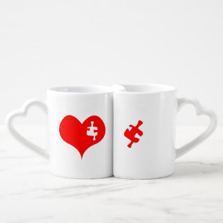 Heart Puzzle Coffee Mug Set