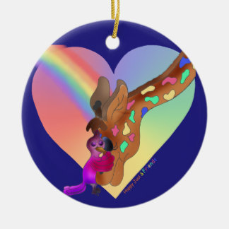 Heart Rainbow & Lila by The Happy Juul Company Ceramic Ornament