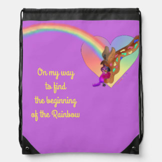 Heart Rainbow & Lila by The Happy Juul Company Drawstring Bag