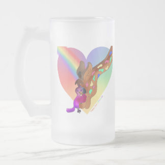 Heart Rainbow & Lila by The Happy Juul Company Frosted Glass Beer Mug
