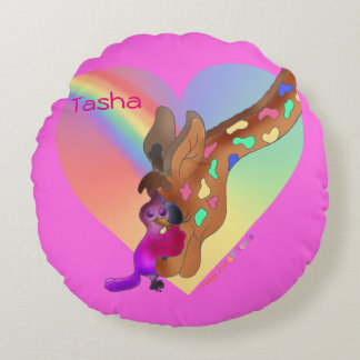 Heart Rainbow & Lila by The Happy Juul Company Round Pillow