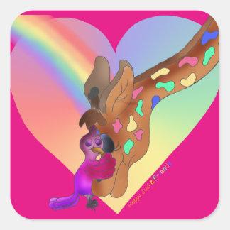 Heart Rainbow & Lila Square Stickers