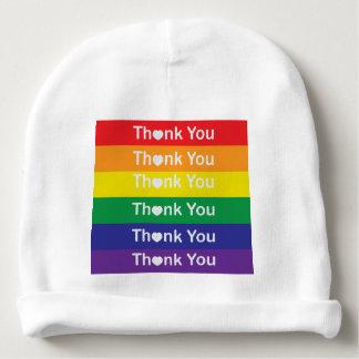 Heart Rainbow Thank You Baby Beanie