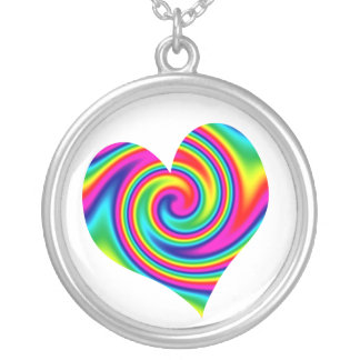 Heart Rainbow Twirl Silver Plated Necklace