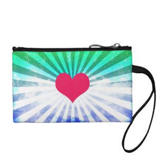 (Heart Rays Art Design) Coin Clutch