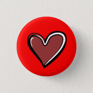 Heart-Red Background 1 Inch Round Button