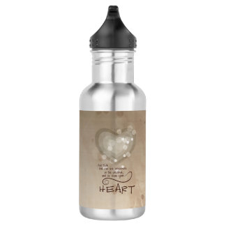Heart Religious Encouragement, Grunge 532 Ml Water Bottle