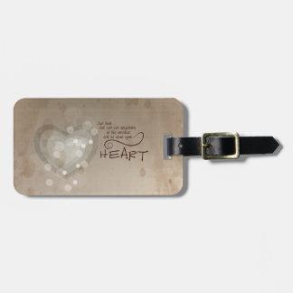 Heart Religious Encouragement, Grunge Luggage Tag