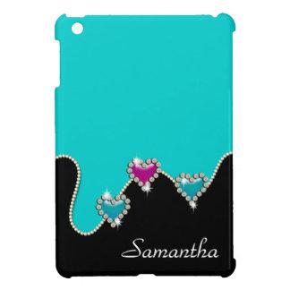 Heart rhinestone glitter girls name iPad mini cover