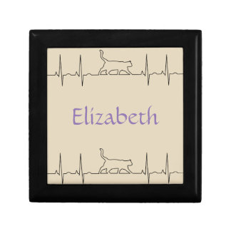 Heart rhythm EKG  cute cat Gift Box