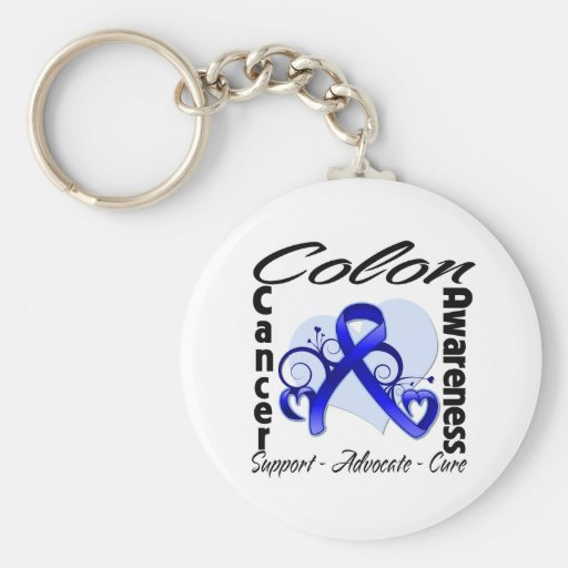 Heart Ribbon - Colon Cancer Awareness Keychain