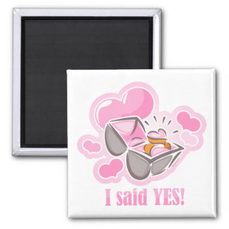 Heart Ring I Said Yes Refrigerator Magnets