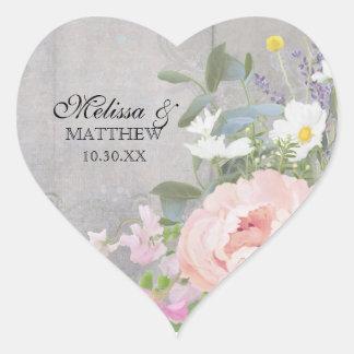 Heart Romantic BOHO Rustic Woodsy Floral Peony Art Heart Sticker