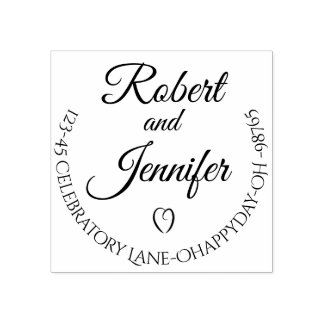 Heart Round Wedding Return Address Stamp Custom